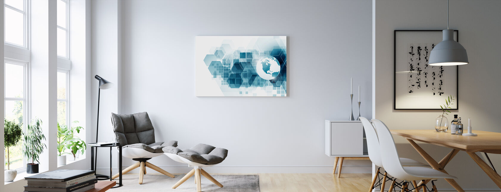 Globe with Geometric Background - Canvas print - Living Room