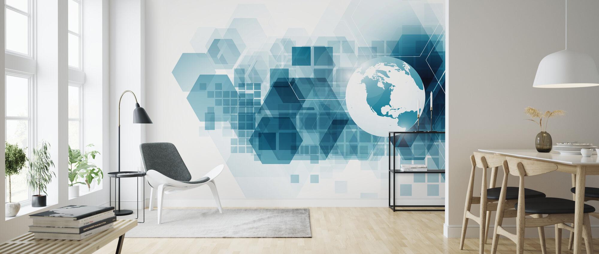 Globe met geometrische achtergrond - Behang - Woonkamer