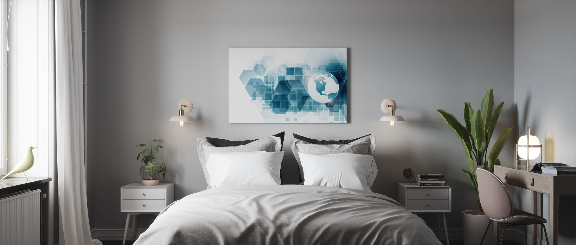 Globe with Geometric Background - Canvas print - Bedroom