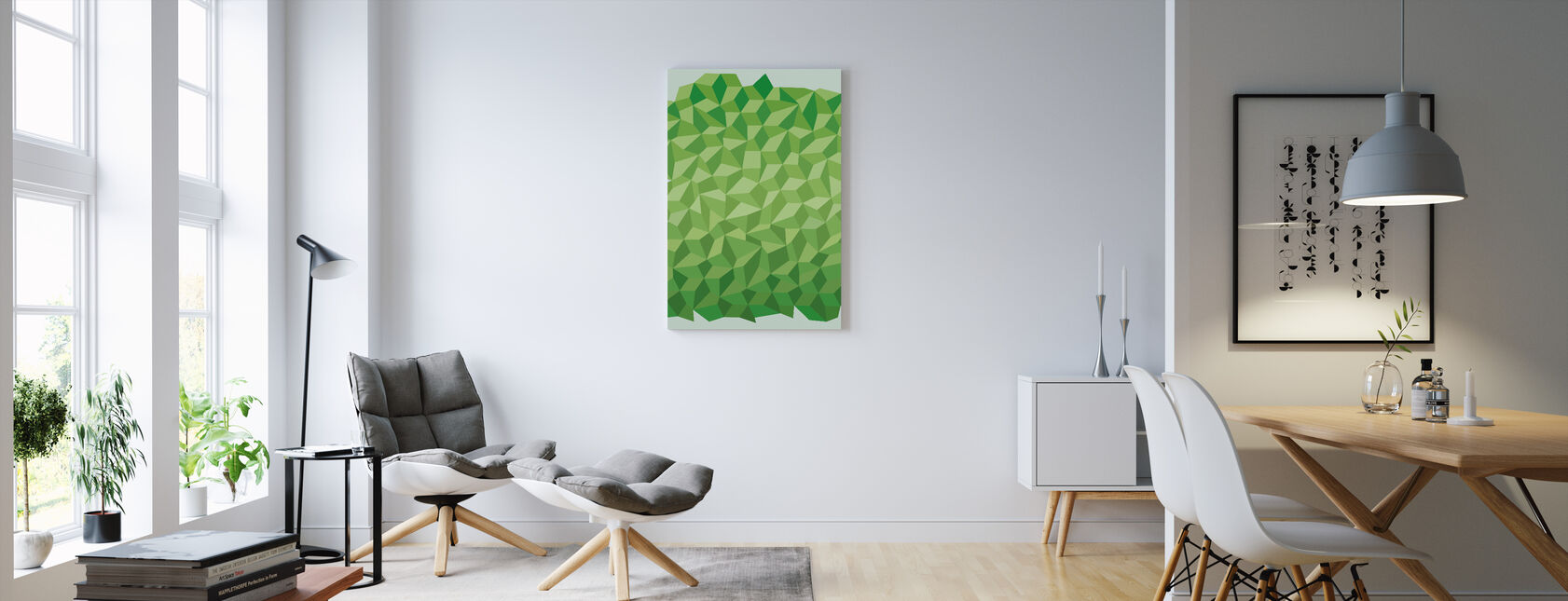 Green Polygon Background - Canvas print - Living Room