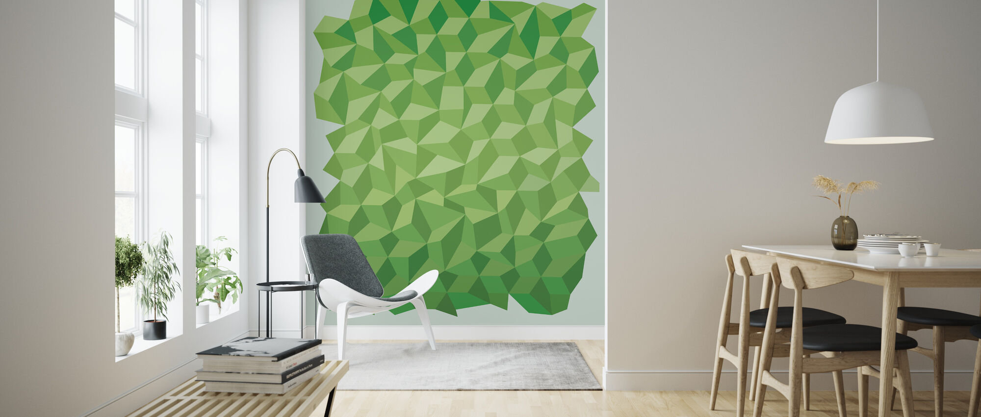 Green Polygon Background - Wallpaper - Living Room