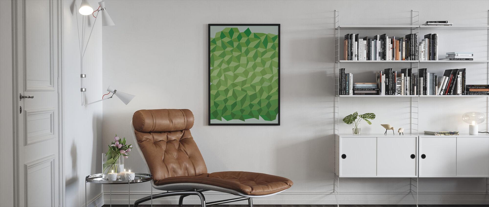 Grønn polygon bakgrunn - Innrammet bilde - Stue