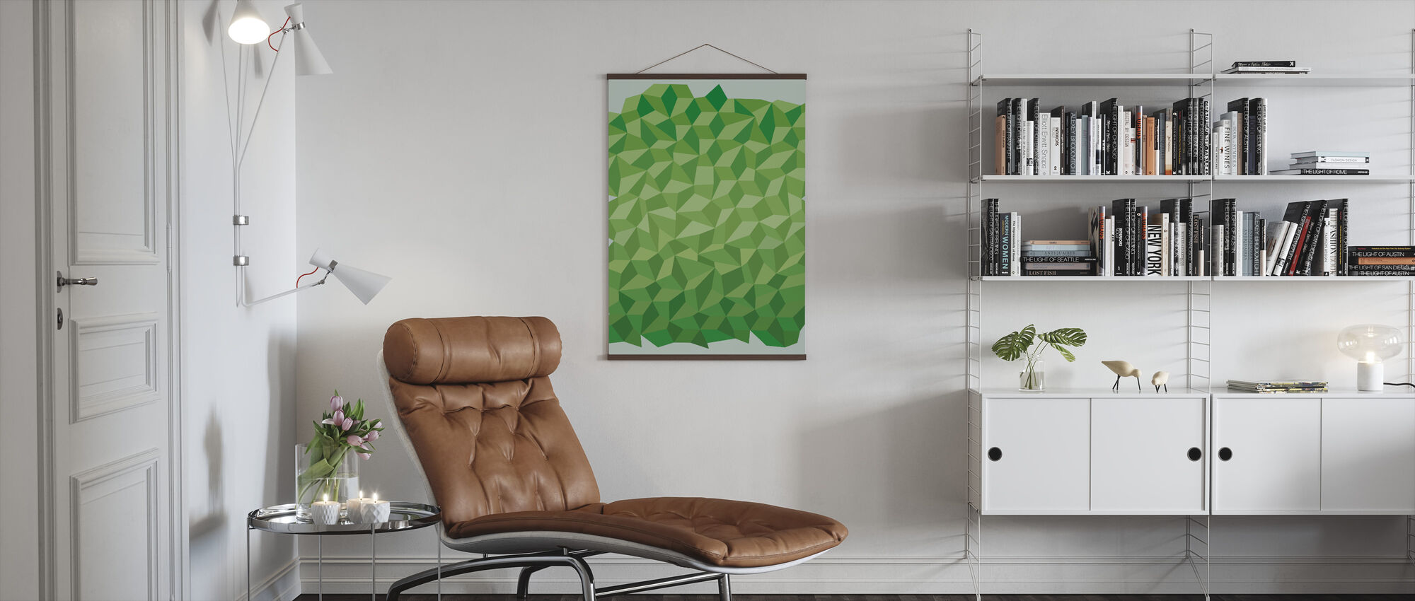 Green Polygon Background - Poster - Living Room