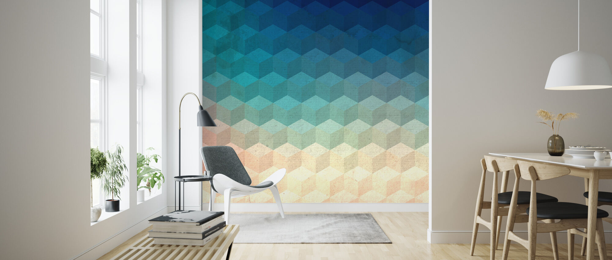 Hexagon Cubes - Wallpaper - Living Room