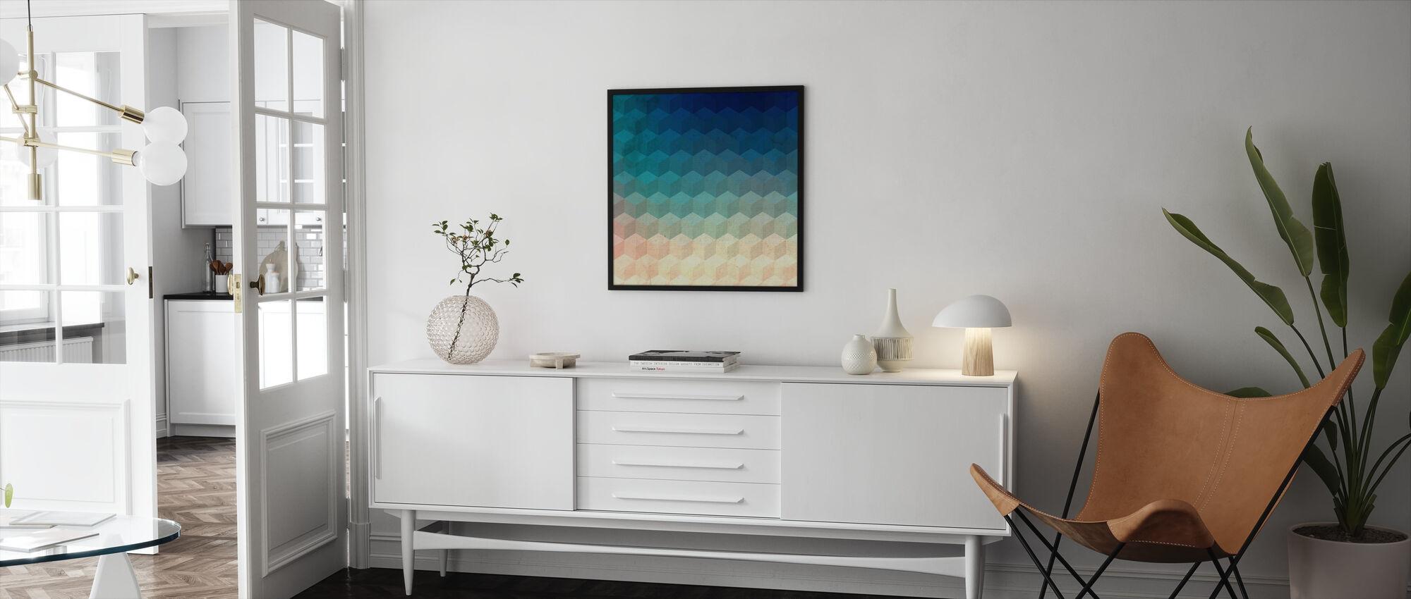 Hexagon Kubussen - Ingelijste print - Woonkamer