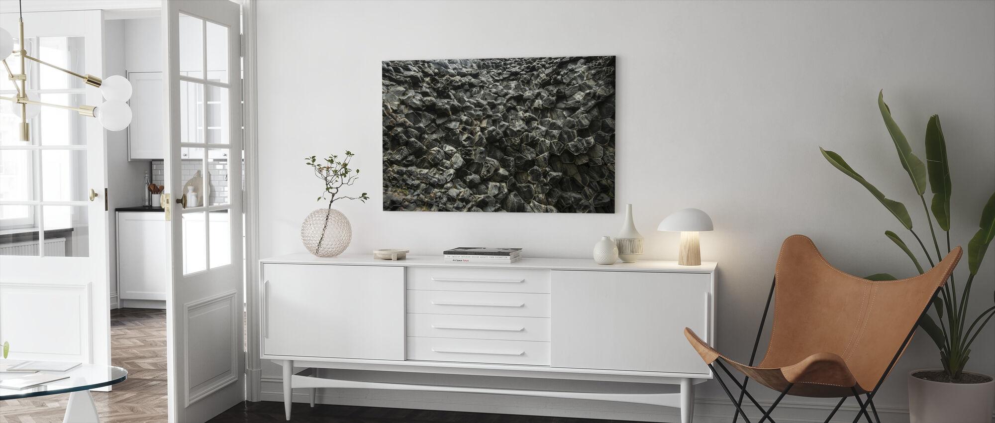 Hunajakenno kuvioitu basaltti seinä - Canvastaulu - Olohuone
