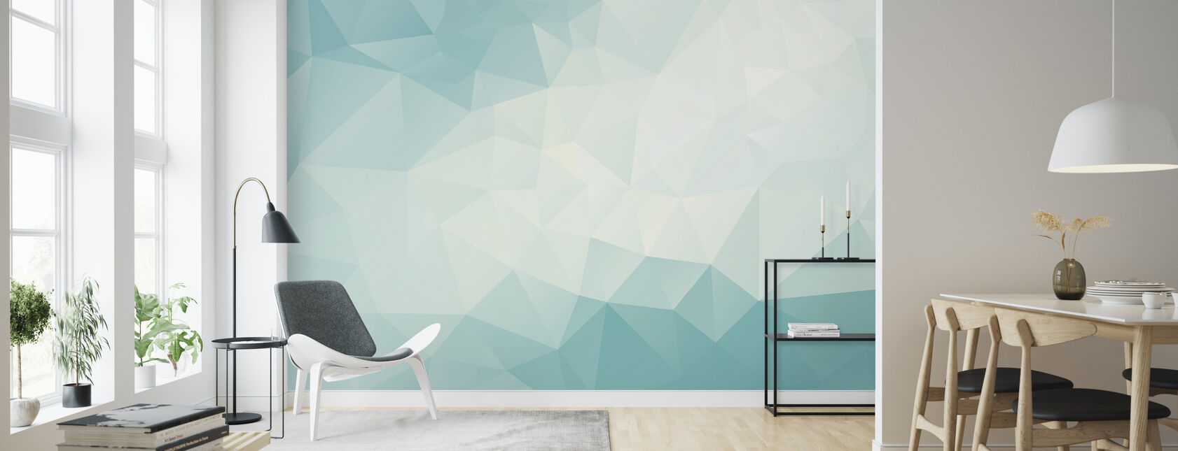 Ice Blue Polygonal - Wallpaper - Living Room