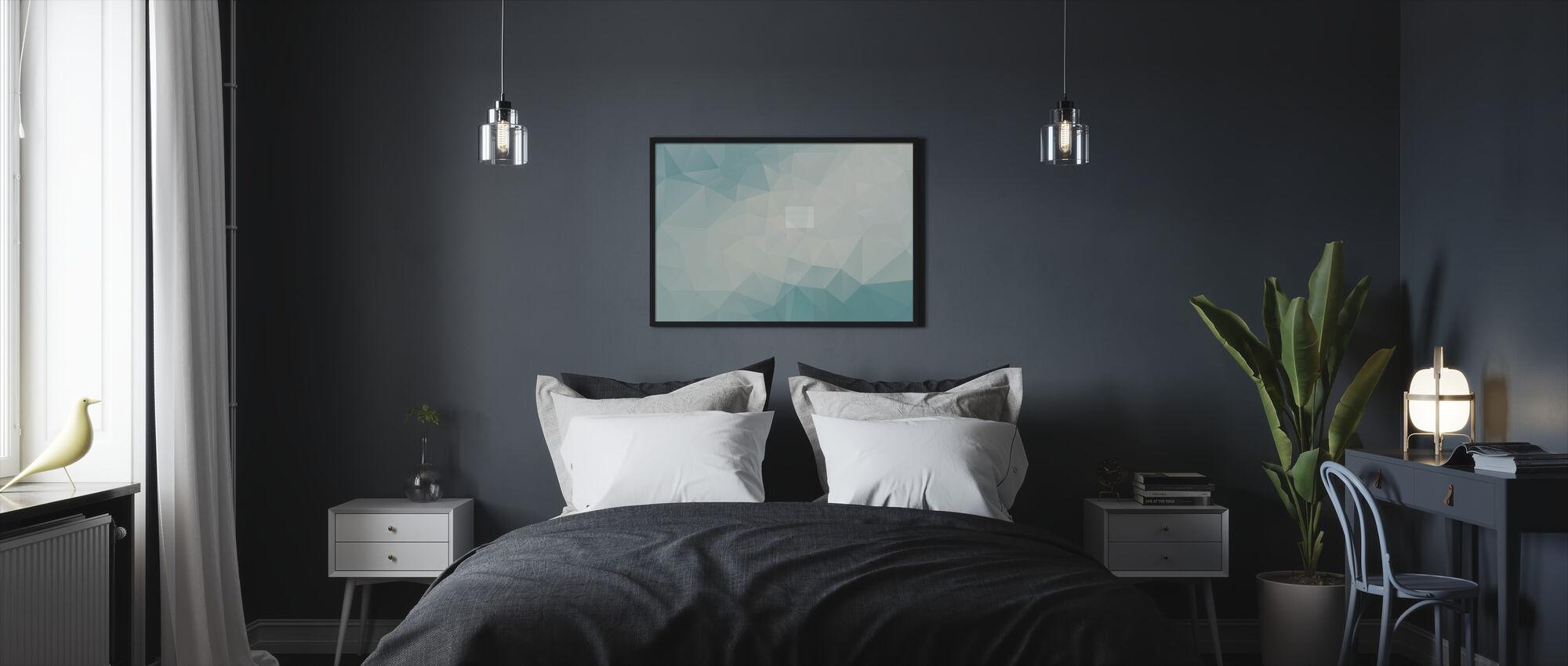 Ice Blue Polygonal - Framed print - Bedroom