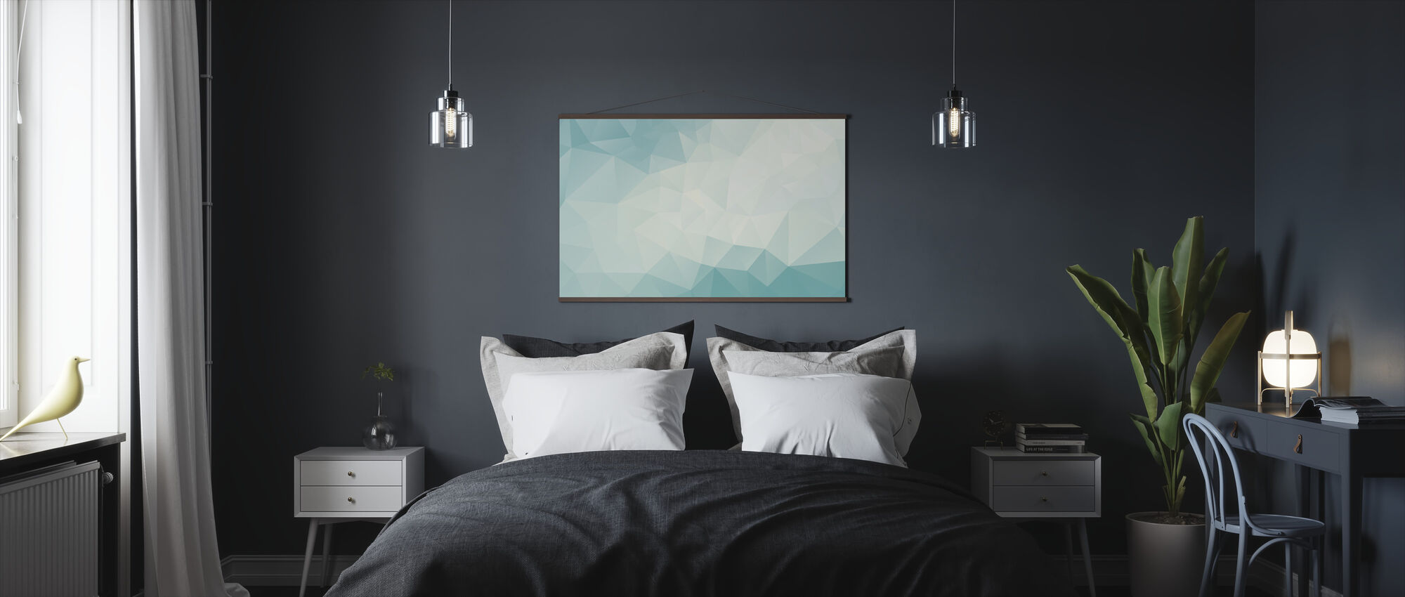 Ice Blue Polygonal - Poster - Bedroom