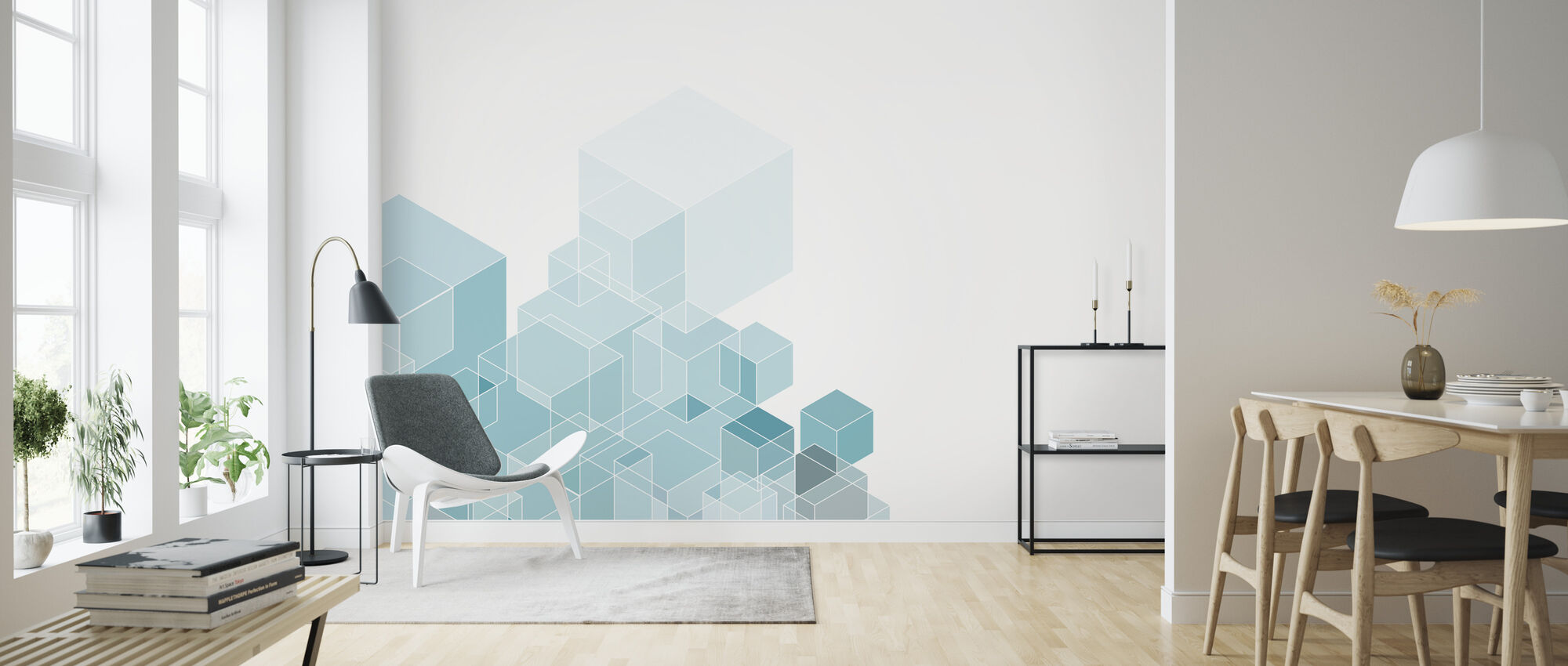 Mint Hexagon Patroon - Behang - Woonkamer