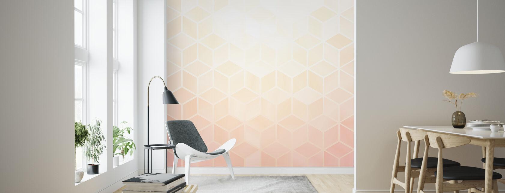 Pastel Roze Zeshoeken - Behang - Woonkamer