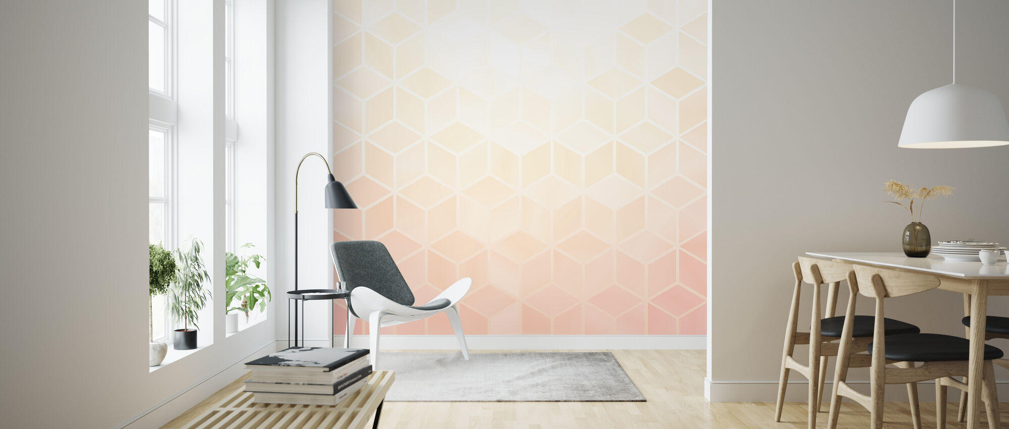 Pastel Pink Hexagons - Wallpaper - Living Room