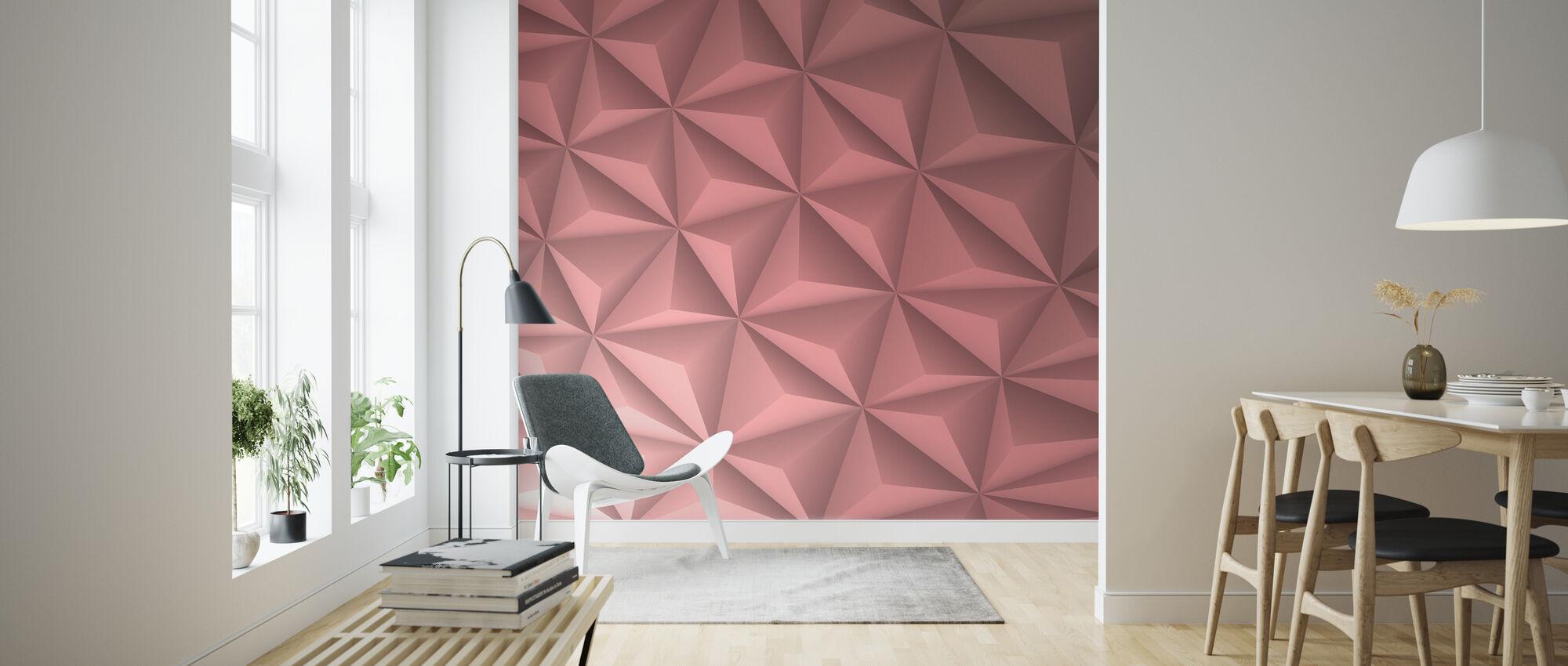 Roze Geometrisch - Behang - Woonkamer