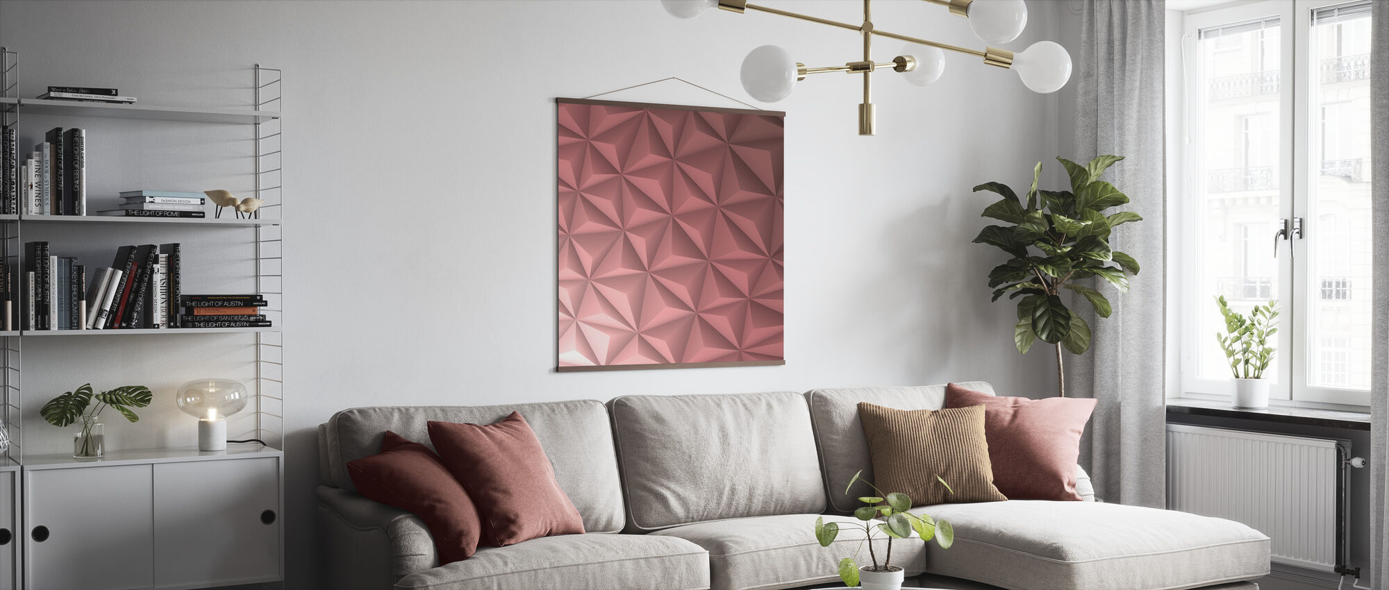 Pink Geometric - Poster - Living Room