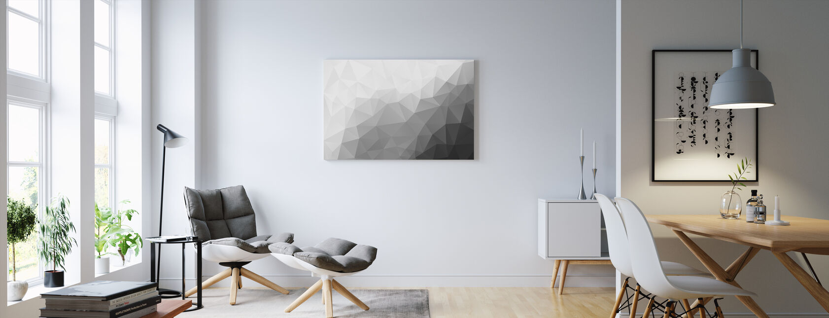Polygonal Grey Shades 2 - Canvas print - Living Room