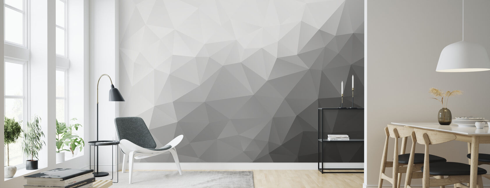 Polygonal Grey Shades 2 - Wallpaper - Living Room