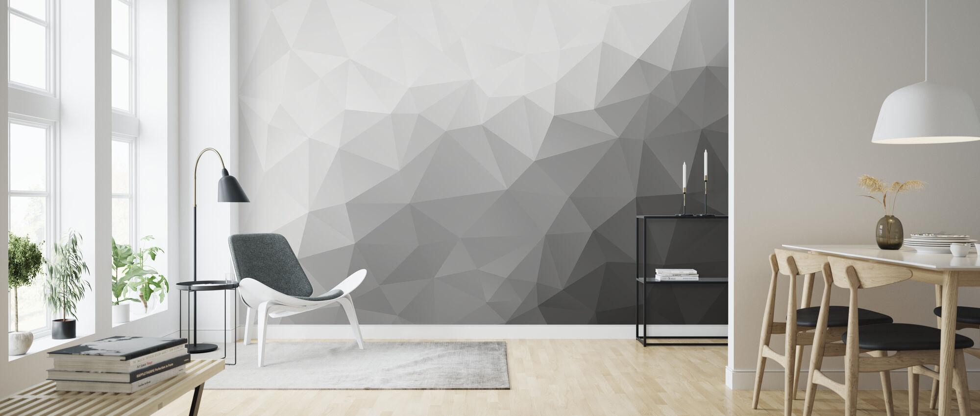 Polygonal Grey Shades 2 - Wallpaper - Living Room
