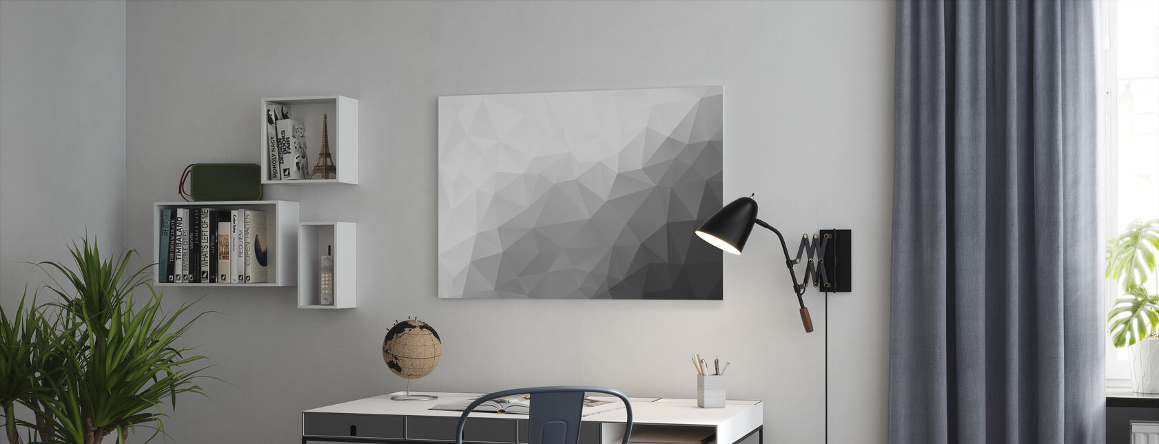 Polygonal Grey Shades 2 - Canvas print - Office
