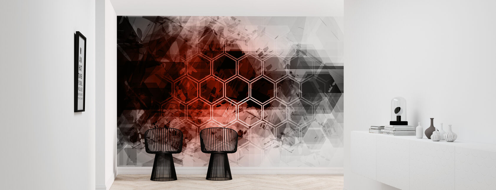 Red Hexagon Background - Wallpaper - Hallway