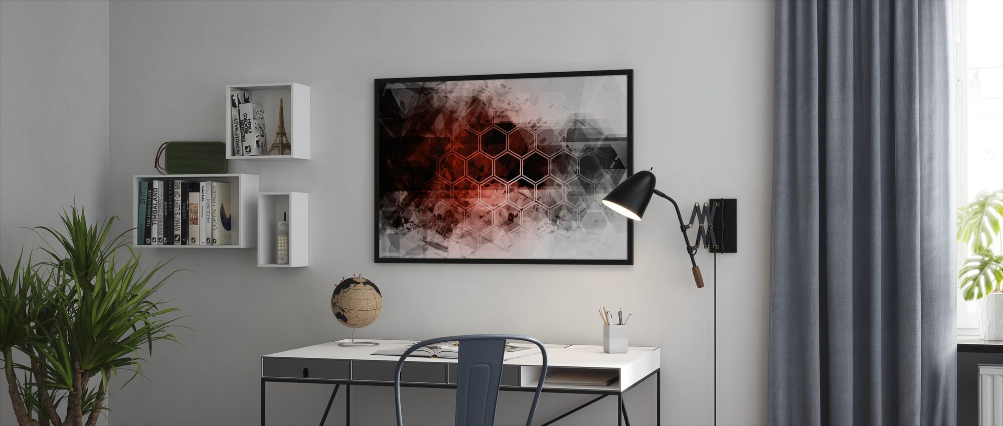 Red Hexagon Background - Framed print - Office