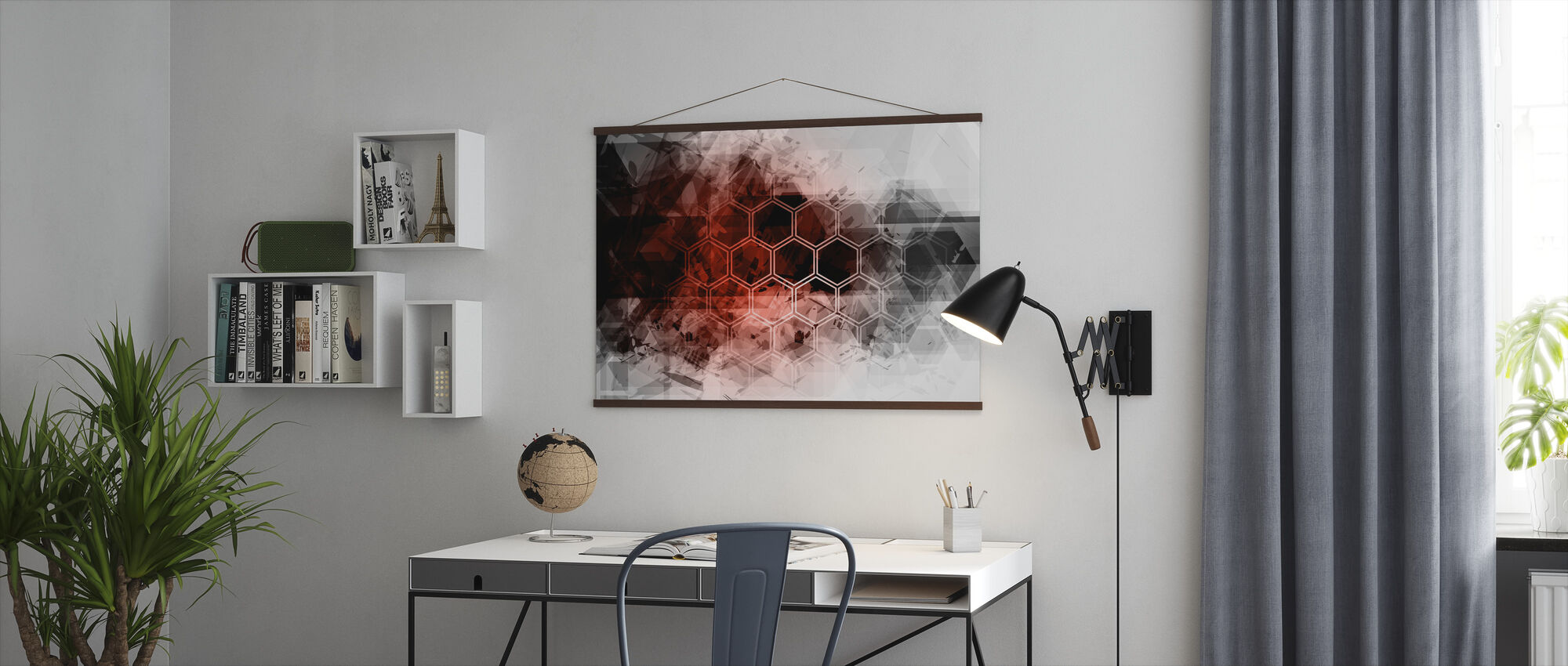 Red Hexagon Background - Poster - Office