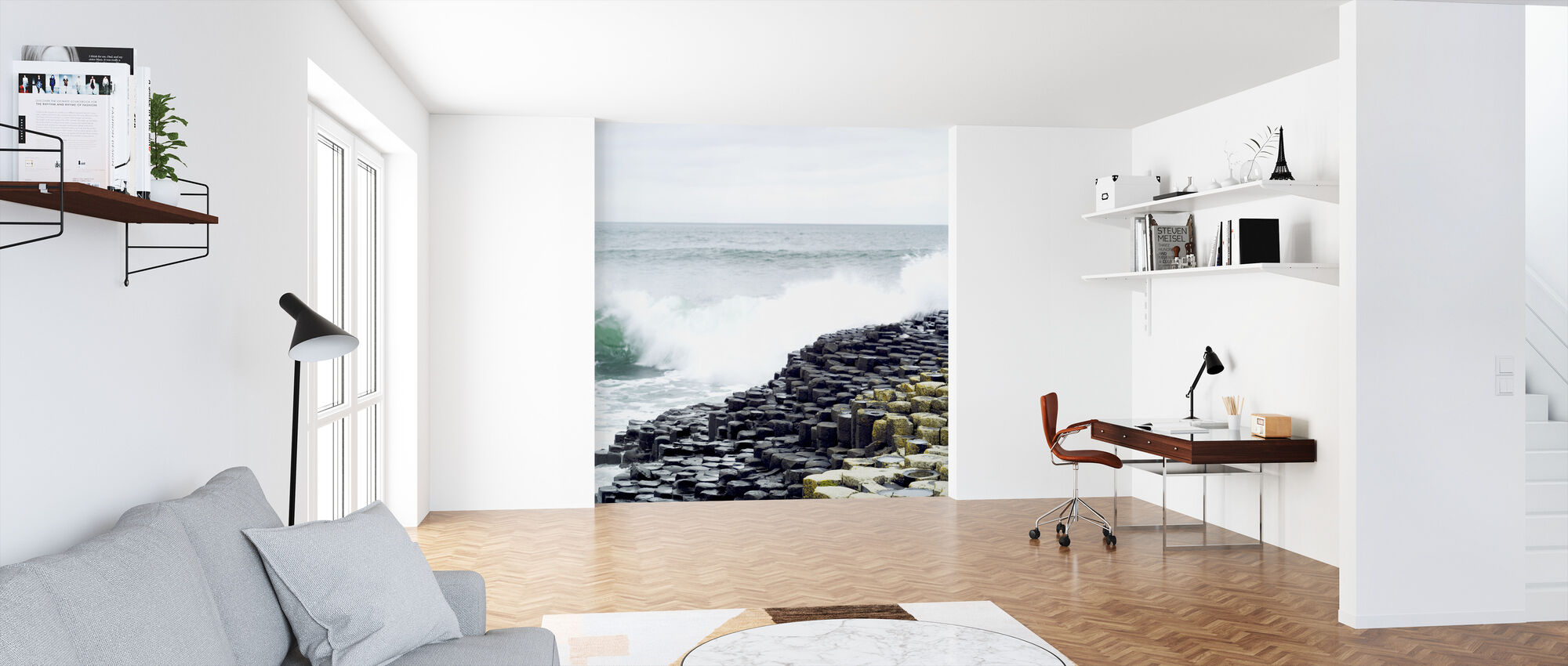 Waves Crashing in Giants Causeway - Wallpaper - Office