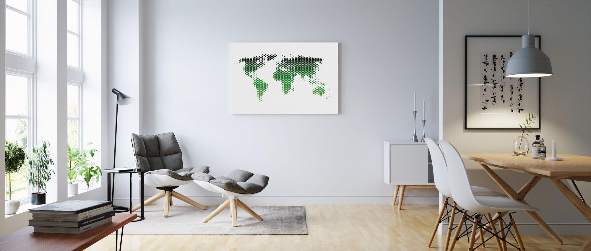 Feuille de métal de la carte du monde - Vert - Impression sur toile - Salle à manger