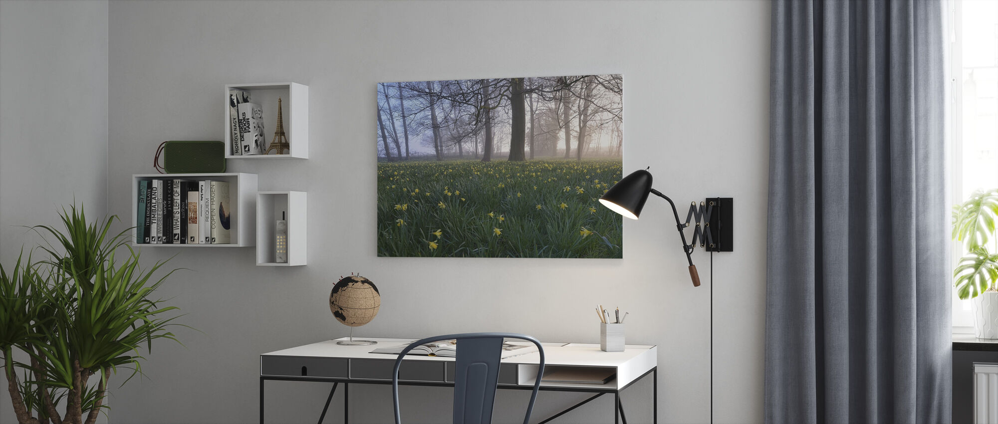Daffodils in Early Morning - Canvas print - Office