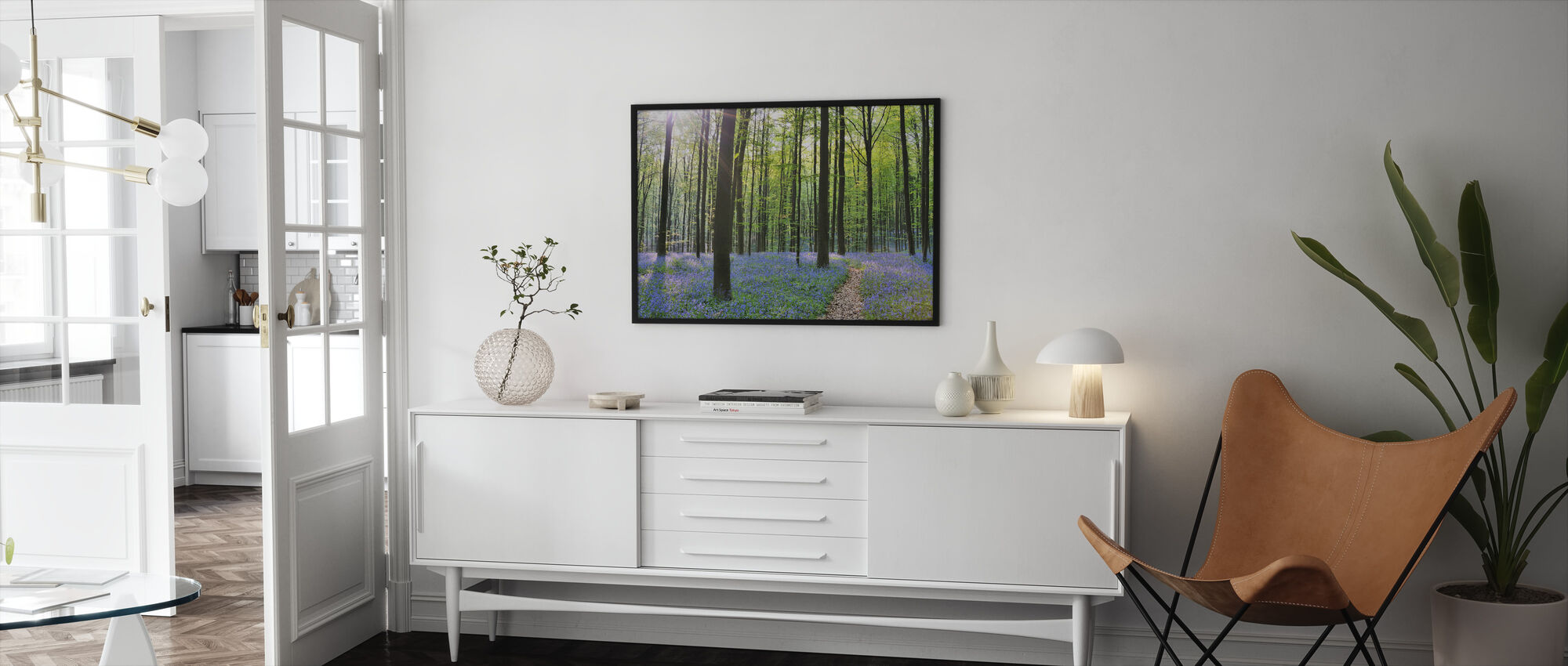 Path through Bluebells Forest - Framed print - Living Room