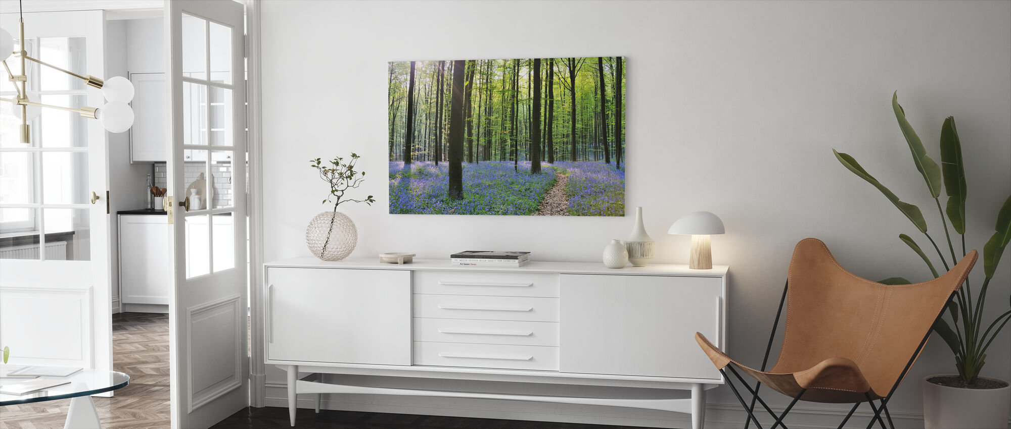 Path through Bluebells Forest - Canvas print - Living Room
