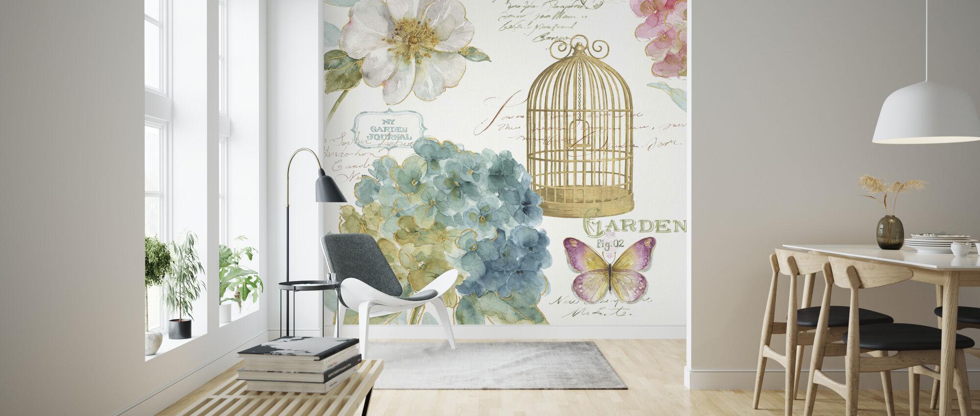 Hortensie Vogelkäfig - Tapete - Wohnzimmer