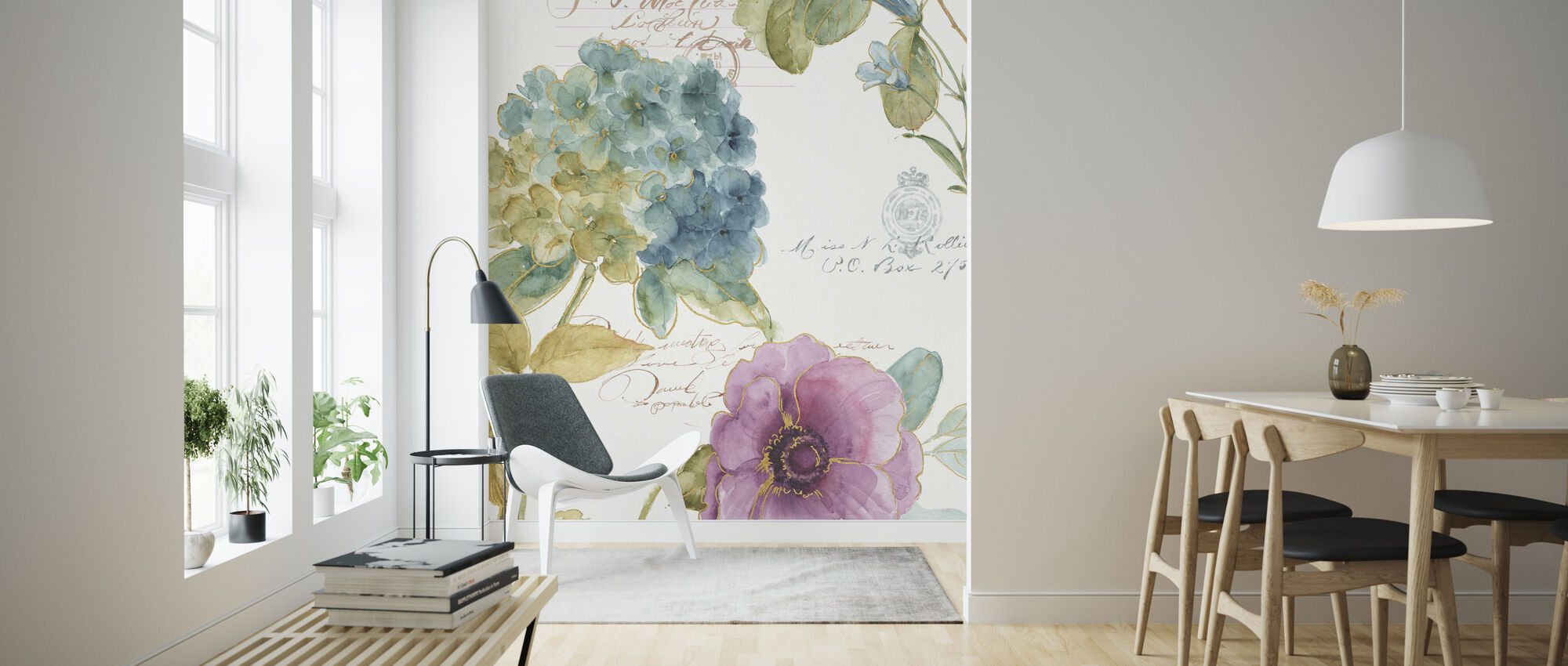 Hydrangea Letter - Wallpaper - Living Room