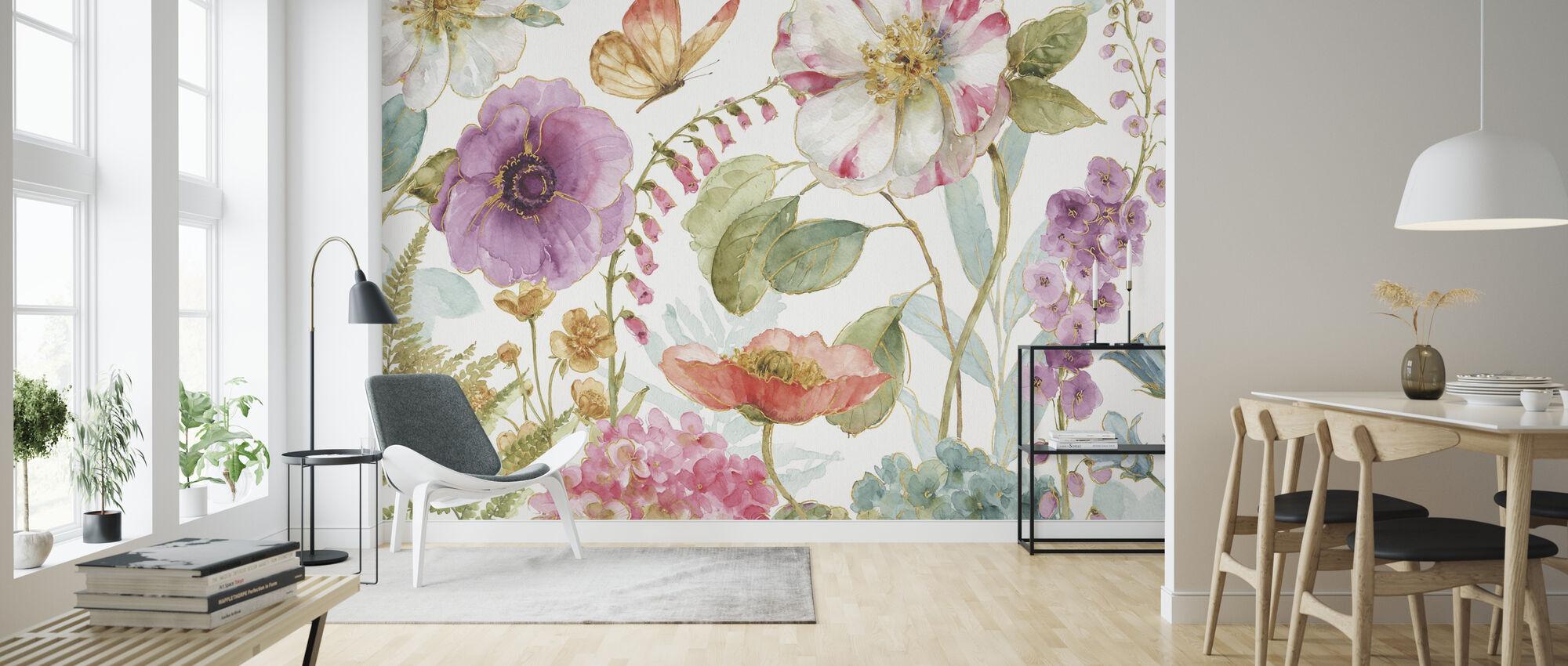Regnbåge Frön Blommor 1 - Tapet - Vardagsrum