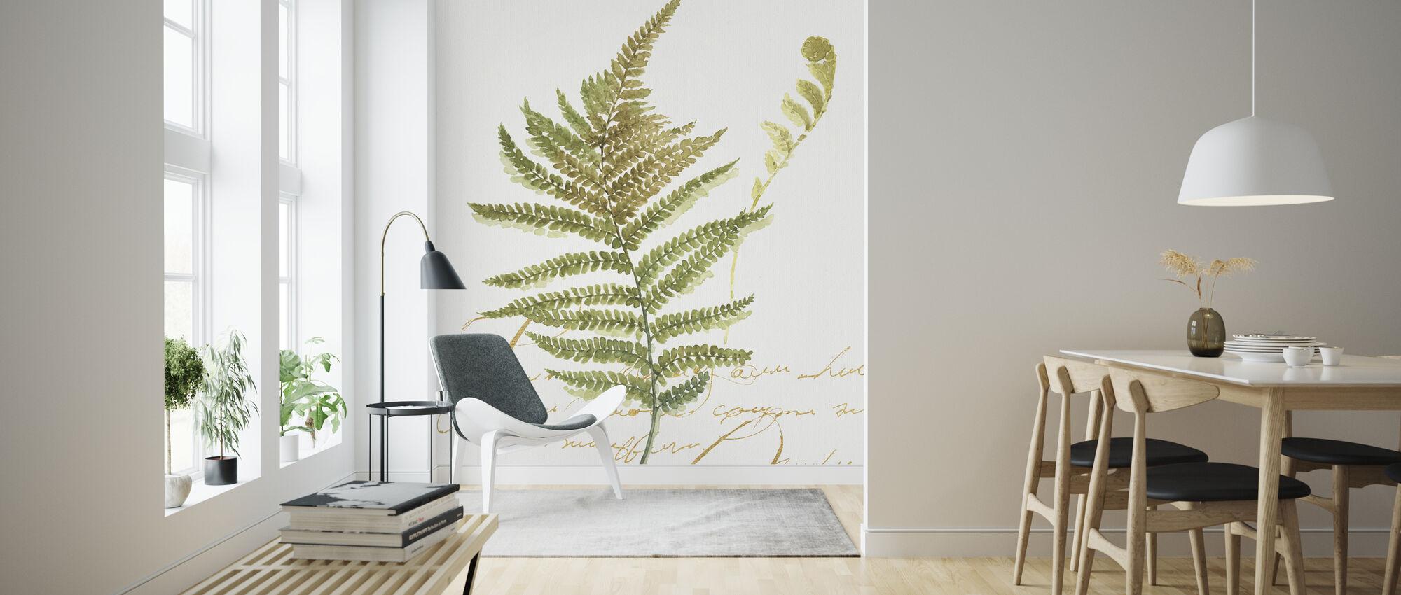 Aquarell Farn - Tapete - Wohnzimmer