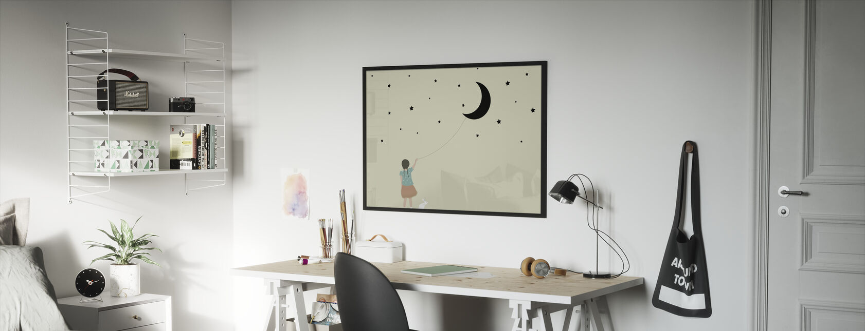 Stars and moon - Framed print - Kids Room