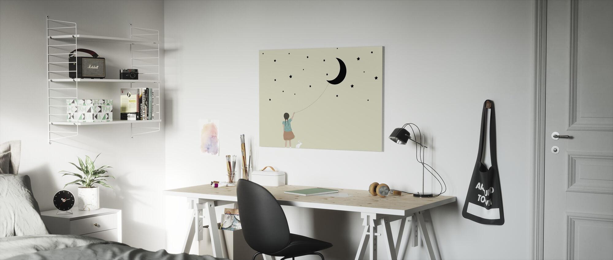 Stjerner og måne - Lerretsbilde - Barnerom