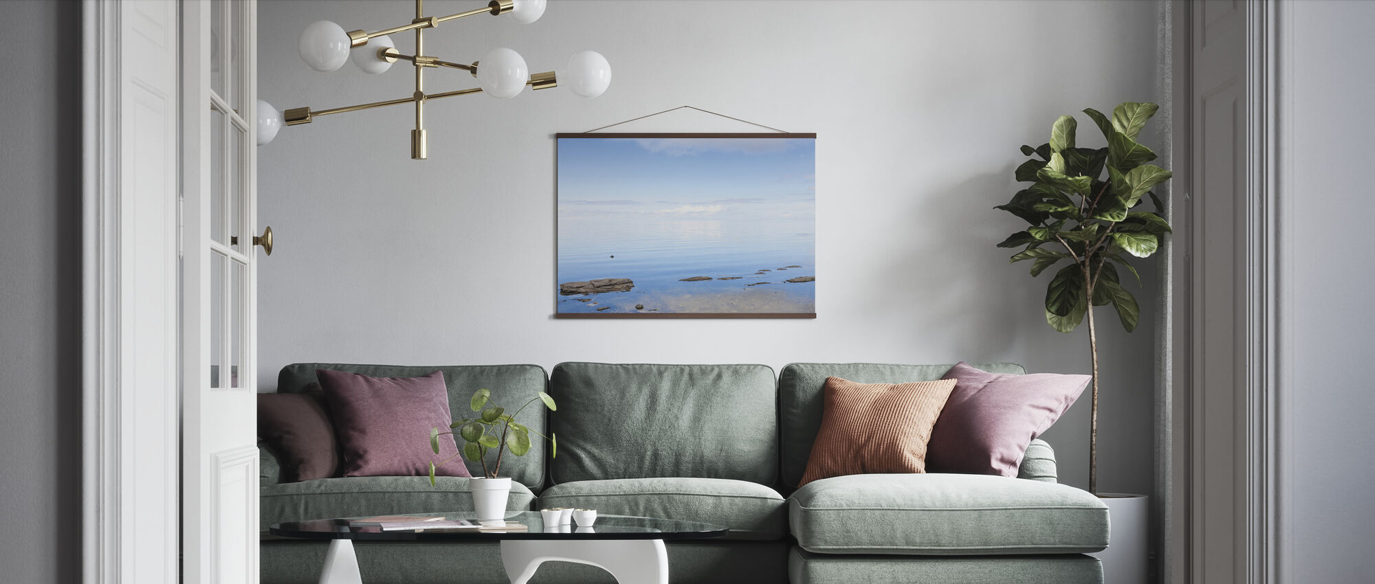 Blauwe Zee in Gotland - Poster - Woonkamer