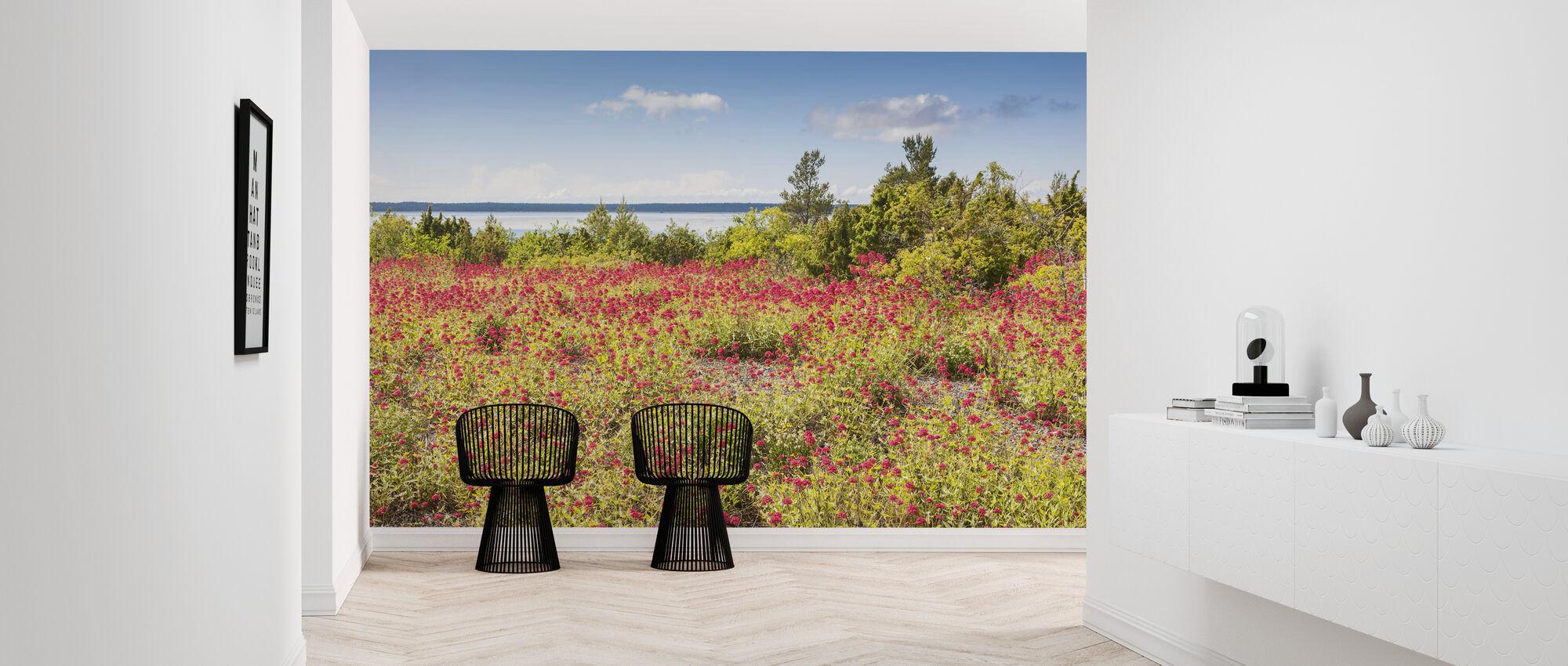 Red Flowers Meadow - Wallpaper - Hallway