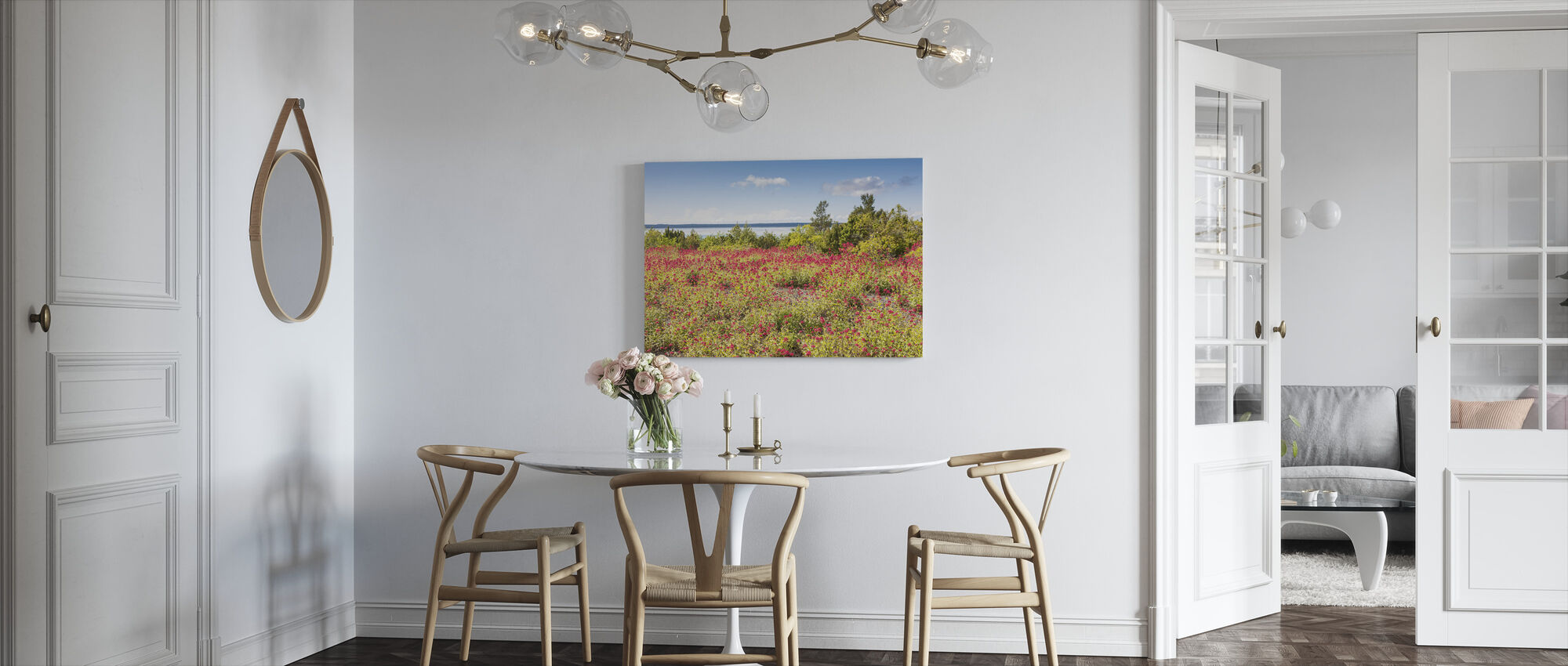 Red Flowers Meadow - Canvas print - Kitchen
