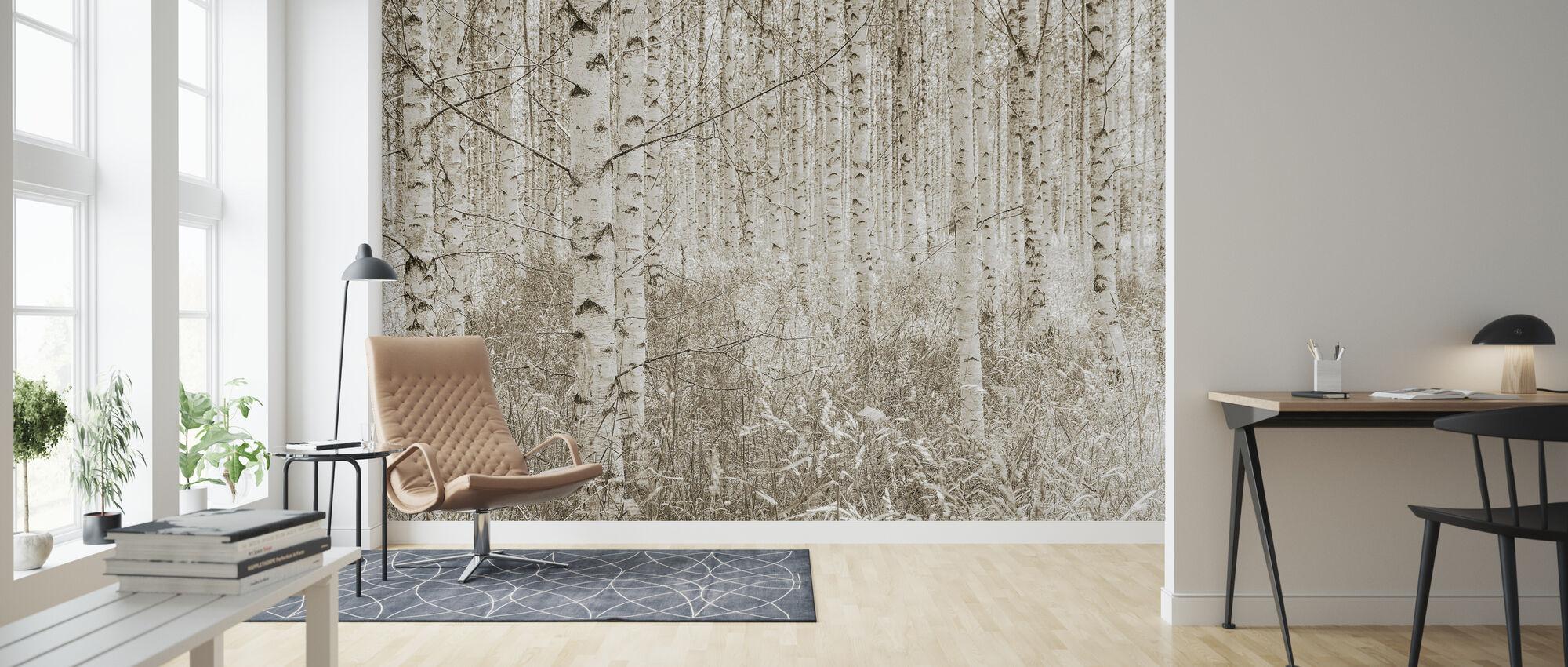 Quiet Birch Forest - Wallpaper - Living Room