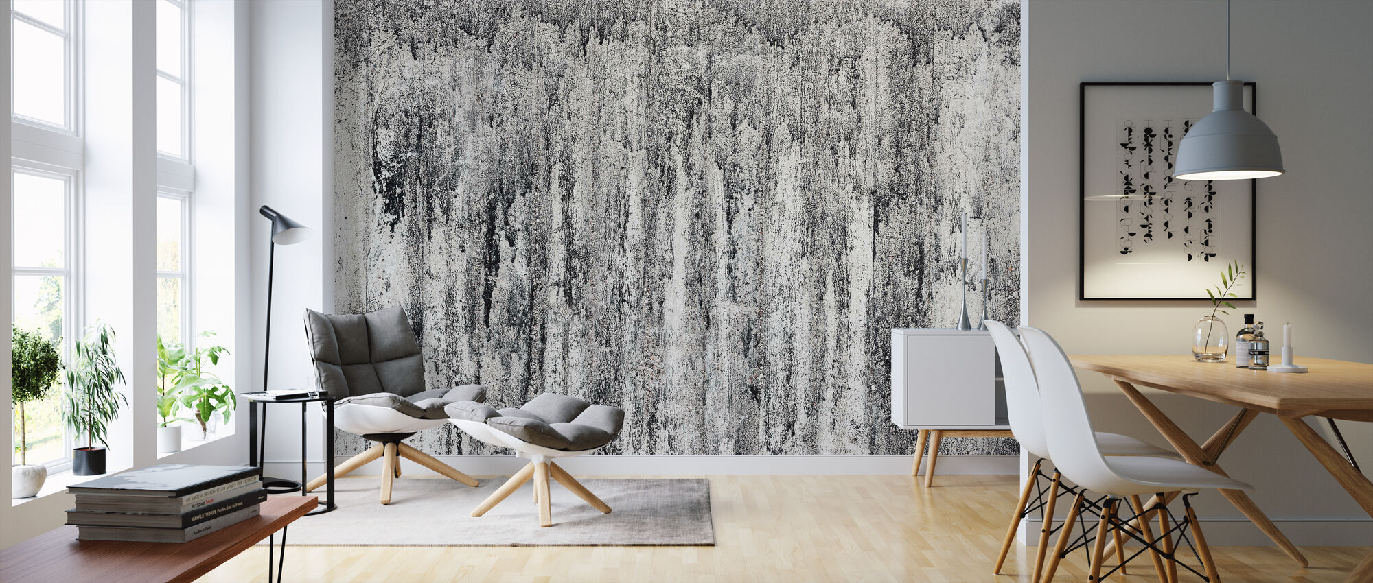 Cement Wall - Wallpaper - Living Room