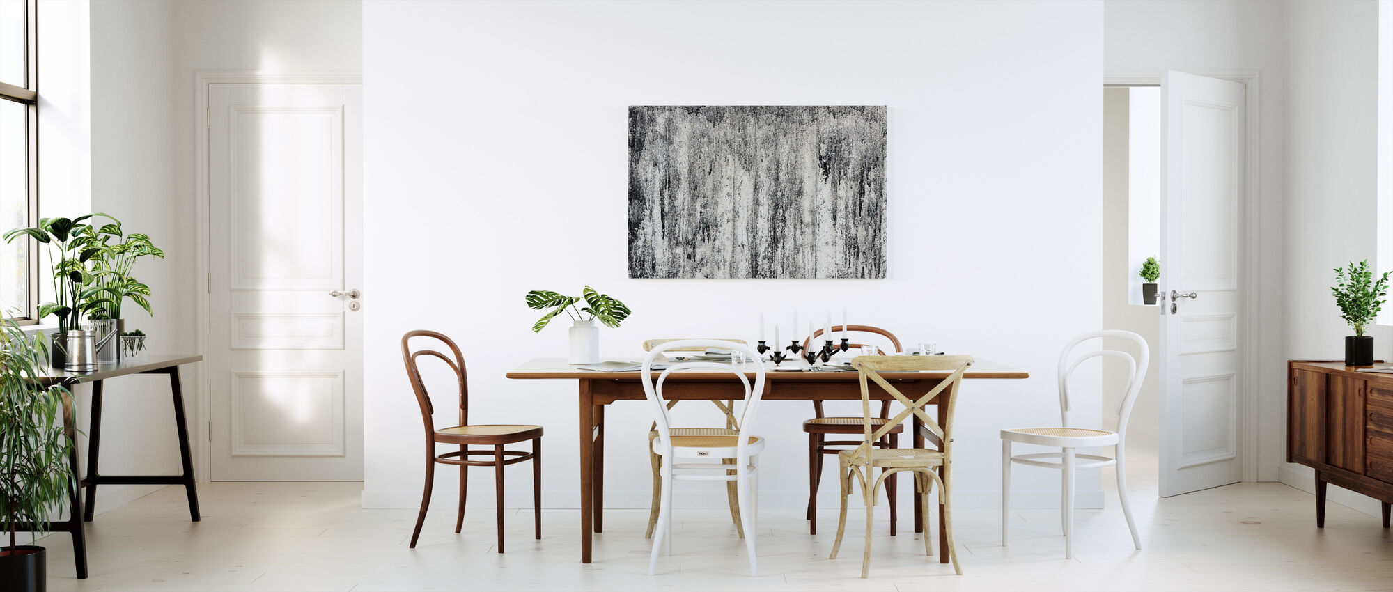 Zwarte Cement Muur - Canvas print - Keuken