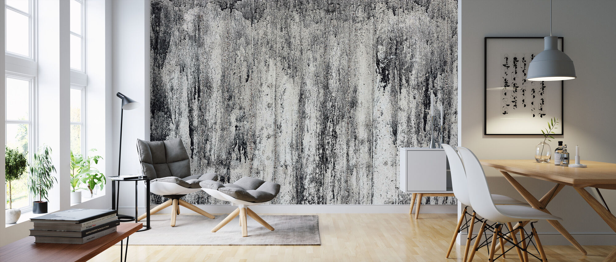Black Cement Wall - Wallpaper - Living Room