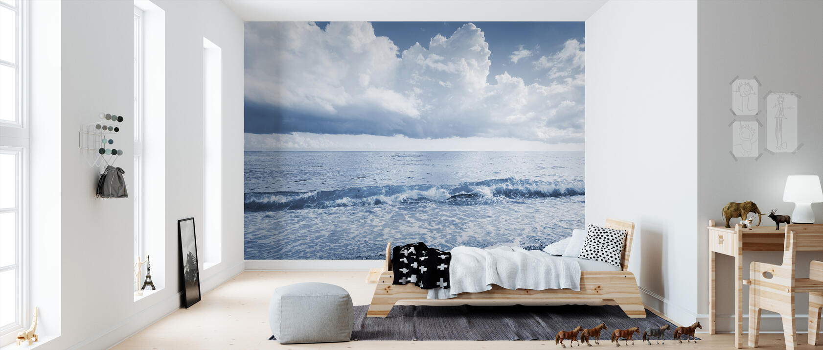 sea and dramatic clouds fototapete nach ma photowall. Black Bedroom Furniture Sets. Home Design Ideas
