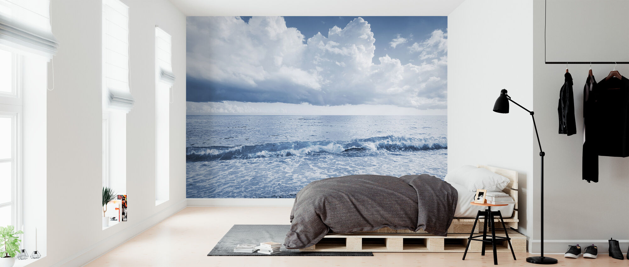 Sea and Dramatic Clouds - Wallpaper - Bedroom