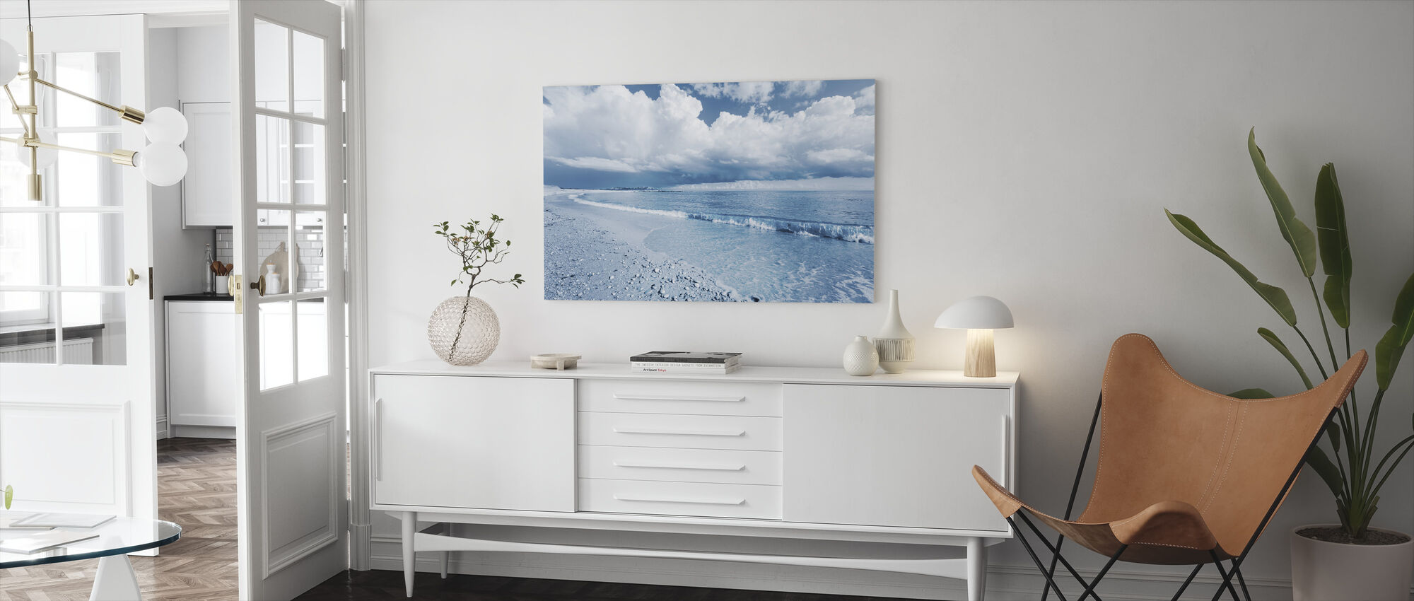Blue Sea with Dramatic Clouds - Canvas print - Living Room