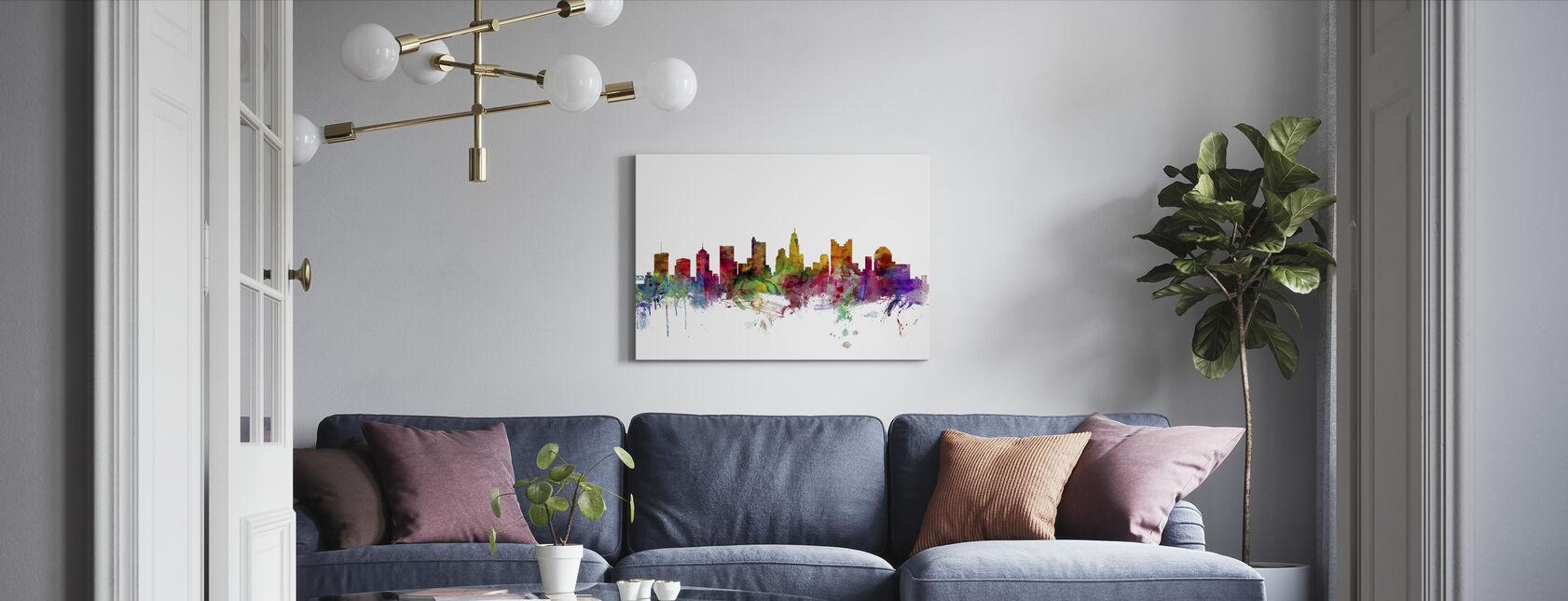 Columbus Ohio Skyline - Canvas print - Woonkamer