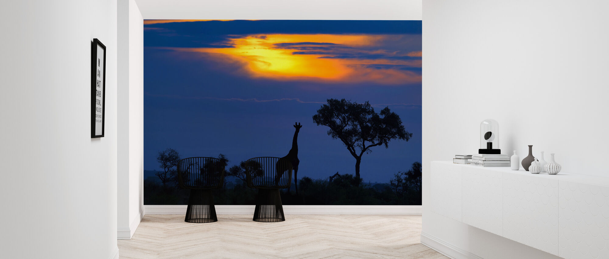 A Giraffe at Sunset - Wallpaper - Hallway