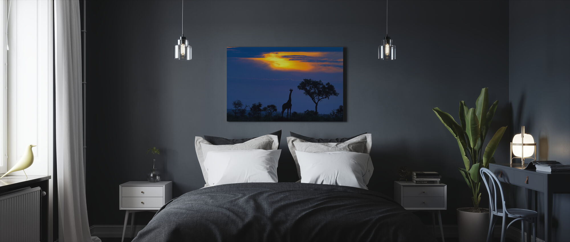 A Giraffe at Sunset - Canvas print - Bedroom