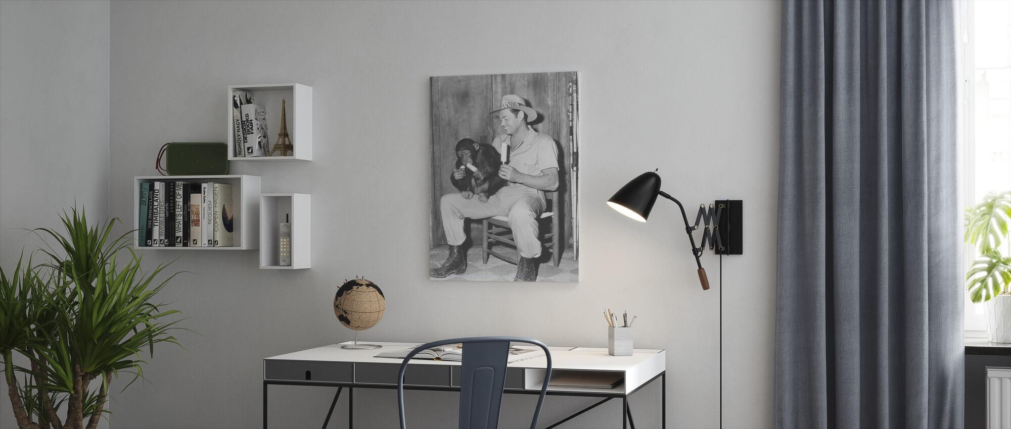 Jungle Jim with Cheetah - Canvas print - Office